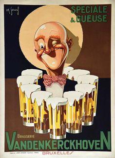 GERARD O.K.Brasserie VandenkerckovenLéon Verger Paris Bruxelles Imp. vers 1930 Affiche entoilée/ Vintage Poster on Linnen T.B.E. A - 62,5 x 46#art #auction #poster #affiche #print #paper #papier