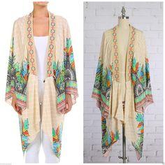 Flying Tomato Moroccan Embroidered Cardigan Kimono Paisley Vintage s M L | eBay