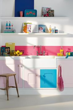 Fun painted cabinets and backsplash.
