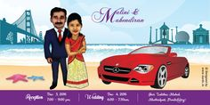 Kards - Creative Wedding Invitations Published by Ramya Ramaswamy Page Liked · November 7, 2016 · Caricature invitation showing Pondy and SFO! And the groom's love for his favorite car. These little things add such a personal touch to your invite making it unique just for you.