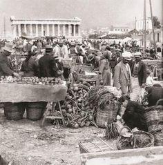 Au Thissio, le premier marché en plein air d'Athènes, Grèce, 1929 (Marchés fermiers en plein air dans les quartiers d'Athènes)  (Λαϊκή στο Θησείο, 1931...η πρώτη Λαϊκή αγορά...πριν 88 χρόνια...)