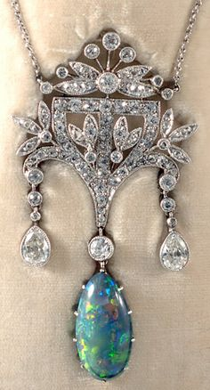 Antique Necklace made by John Joseph Pendants - platinum set fine quality Edwardian diamond and black opal boxed pendant stunning 1910c
