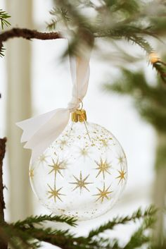 Beautiful, delicate gold and clear ornaments.