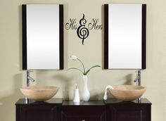 His and Hers Bathroom  VInyl Wall Lettering Decal. $19.99, via Etsy.