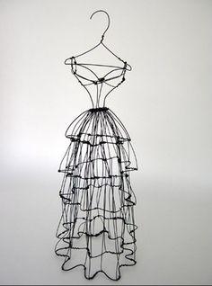 Original free standing wire sculpture dress form by Leigh Pennebaker