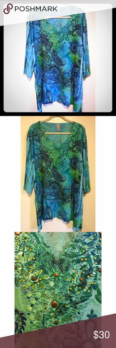 Catherine's Blue&Green Embellished Paisley Blouse Catherine's Blue and Green Embellished Paisley Pattern Blouse. Three quarter length sleeves. Plus Size 3X (26/28W). NEW WITH TAGS! Catherines Tops Blouses