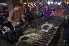 Tomohon Traditional Market, North Sulawesi, Indonesia WARNING: GRAPHIC IMAGES OF DEAD ANIMALS AHEAD. That's when the smell hits you.Tomohon Traditional Market, North Sulawesi, Indonesia WARNING: GRAPHIC IMAGES OF DEAD ANIMALS AHEAD. That's when the smell hits you.Rats are even more common here than at your average food market.Preparing roasted rats for sale.