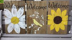 Items similar to Mother's Day 2016 Rustic Welcome signs / gift for mom, house warming or front porch. on Etsy Pallet Painting, Pallet Art, Pallet Signs, Painting On Wood, Pallet Fence, Pallet Crafts, Wooden Crafts, Diy And Crafts, Painted Signs