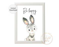 Bunny Rabbit Be Happy Printable Print - Printable Wall Art Bunny Nursery, Woodland Animal Nursery, Nursery Decor Boy, Boys Bedroom Decor, Nursery Neutral, Nursery Wall Art, Girl Nursery, Nursery Ideas, Abstract Canvas Wall Art