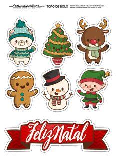 Topo de Bolo Natal 1 Christmas Doodles, Christmas Drawing, Christmas Art, Christmas Decorations, Christmas Ornaments, Nordic Christmas, Modern Christmas, Christmas Labels, Christmas Stickers