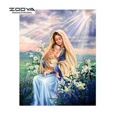 ZOOYA Diamond Embroidery 5D DIY Diamond Painting Virgin Mary Religious Religion Christianity Woman with Kid Flowers Sun Diamond Painting Rhinestone Cross Stitch Decoration CJ356 http://ali.pub/1h5l8q