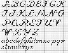 cross stitch - cursive alphabet: