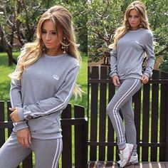 Fashion Striped Sweat Suits sleeve shirt fitness sets t for Women