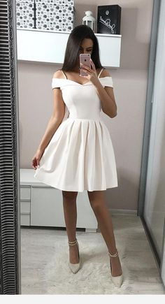 White Off Shoulder Short Prom Dress,Lovely Homecoming Dress sold by SeventeenPro. - White Off Shoulder Short Prom Dress,Lovely Homecoming Dress sold by SeventeenProm on Storenvy - Dama Dresses, Cute Prom Dresses, Dresses For Teens, Simple Dresses, Elegant Dresses, Pretty Dresses, Sexy Dresses, Beautiful Dresses, Casual Dresses