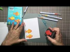 Fishing You The Best Stamp Set By: Gina K. Designs And Zig Clean Color Markers/ Embossed Acetate Stamp Tv, Sponging, Card Tutorials, Watercolor Cards, Xmas Cards, Rock And Roll, Markers, Fishing, Card Making