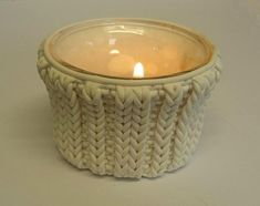 faux cabled candle holder.