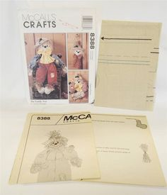 McCalls 8388 Classic Scarecrow Family Pattern Uncut 1996 Doll Door Hanger Wreath #McCallsCrafts