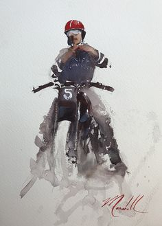 Gear Up by Daniel Marshall Watercolor ~ 12 x 9 Motorcycle Posters, Motorcycle Art, Bike Art, Motorcycle Wheels, Carros Lamborghini, Bike Sketch, Art Deco Posters, Graphic, Pinup