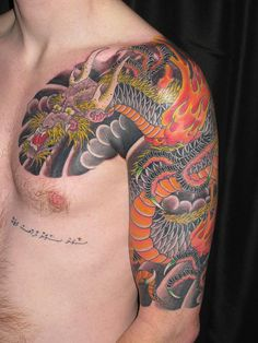 dragon cest and sleeve tattoo - Norton Safe Search Dragon Half, Half Sleeve Tattoos For Guys, Art Periods, Safe Search, Watercolor Tattoo, Tatting, Ink, Sleeves, Portal