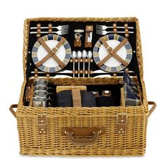 Wicker Picnic Basket Williams Sonoma Would love to take this to the park. It has everything!