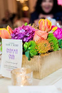 vibrant wedding centerpiece floral