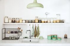 The Ultimate Guide to Organizing Your Home (MyDomaine) Green Kitchen, New Kitchen, Kitchen Dining, Kitchen Decor, Kitchen Jars, Kitchen Styling, Kitchen Ideas, Dining Room, Home Organization Hacks