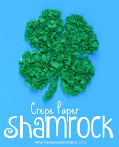 Crepe paper st. Patrick's Day Shamrock kid craft-free printable shamrock template