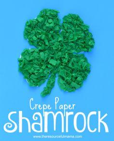 Crepe paper st. Patrick's Day Shamrock kid craft-free printable shamrock template