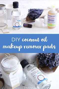 Use these DIY Coconut Oil Makeup Remover Pads to remove your makeup without adding any extra fillers or chemicals to your skin care routine. Coconut Oil Makeup Remover, Diy Makeup Remover Wipes, Homemade Makeup Remover, Natural Makeup Remover, Homemade Coconut Oil, Coconut Oil For Skin, Coconut Shampoo, Homemade Essential Oils, Skin Care