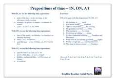 Prepositions of TIME - IN, ON, AT #learnenglish