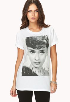 Fancy Audrey Tee | FOREVER21 Everything Audrey #ForeverHoliday #WishPinWin #GraphicTee #Rhinestones Must Haves, Stylish Outfits, Latest Trends, Graphic Tees, Forever 21, Spring Style, Spring Fashion, Amanda, Classy Outfits