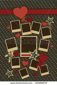 Vintage collage of vector photo frames with hearts for couples in love.Vector photo frame template with red hearts, green stars and abstract blots.