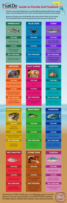 MustDo.com - Here is a handy infographic that explains the varied flavors and cooking preparations for some of Florida's delicious fresh fish and seafood...