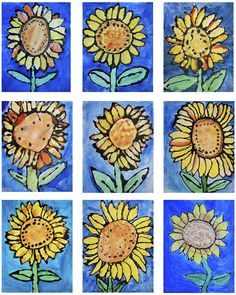 Van Gogh's Sunflowers: 1st grade paintings