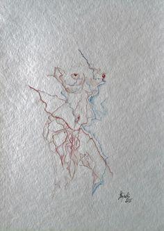 Aquarell Handzeichnung original Hajewski rot Akt Erotik Körper body abstrakt neu