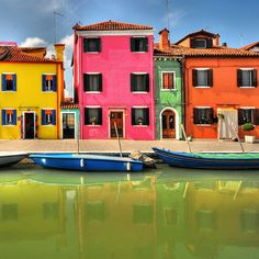 Yellow, pink, green & orange houses-Burano, Italy