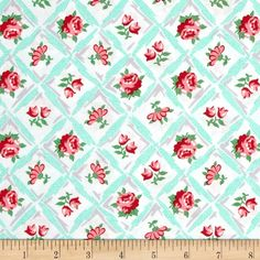 Michael Miller Retro Florals Annette Aqua from @fabricdotcom  Designed for Michael Miller, this cotton print fabric is perfect for quilting, apparel, and home decor accents. Colors include aqua, grey, red, pink, white, and shades of green.