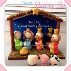 nativity scene, polymer clay