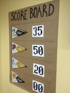 Scoreboard for Triwizard Tournament Events - Harry Potter themed events - retro pennants for each house Harry Potter Motto Party, Harry Potter Weekend, Harry Potter Halloween Party, Harry Potter Classroom, Harry Potter Christmas, Harry Potter Birthday, Harry Potter Party Games, Harry Potter Activities, Harry Potter Thema