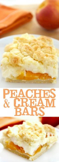 Cream Bars These Peaches and Cream Bars are a delectable summer dessert This recipe is so easy and full of flavour!These Peaches and Cream Bars are a delectable summer dessert This recipe is so easy and full of flavour! Dessert Simple, Cheesecake Recipes, Cookie Recipes, Peach Cheesecake, Nutella Recipes, Pumpkin Cheesecake, Yummy Treats, Sweet Treats, Köstliche Desserts