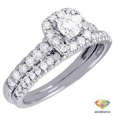 Ladies 10K White Gold Round Cut Engagement Ring Diamond Wedding Band Bridal Set #aonebianco
