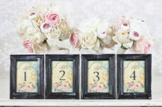 Table Numbers Vintage Shabby Chic Wedding SET of 12 (item P10436)