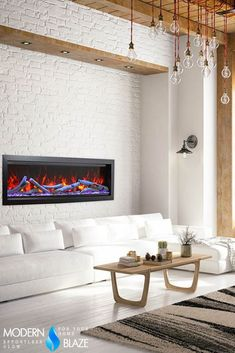 Check out this modern living room featuring our gorgeous fireplace with multicolor flames, WiFi connectivity, and crackling sound! Built In Electric Fireplace, Electric Fireplaces, Fireplace Inserts, Fireplace Mantels, Birch Logs, Fire Glass, Modern Living, Wall Mount, Wifi