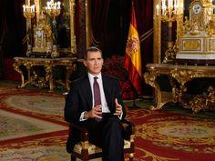 El rey, en el Palacio Real, durante el discurso de Navidad.