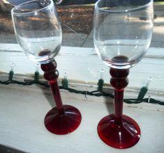 Red Double Ball Stem Tall Cordial Aperitif Liqueur Glasses Set of 2 by TREASUREHUNTVENTURA on Etsy