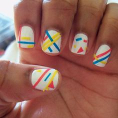 """My """"retro"""" 80's styled nail art. Designs were made by scotch tape!"""