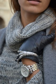 bracelets/watch/leather gloves