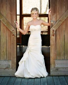 Cute photo of the bride! Wedding photography   bridal shoot   rustic wedding   barn wedding   bridal gown