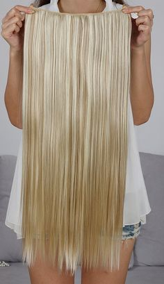 SARLA 1Pc 24 Long Straight Clip In Hair Extension Synthetic Hair Extension Japan Heat Resistant Fiber 50 Colors Available 666 (16H613 Dirty Blonde) >>> This is an Amazon Affiliate link. Details can be found by clicking on the image.