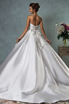 amelia sposa 2016 wedding dresses strapless sweetheart beautiful simple satin a line ball gown wedding dress melissa back